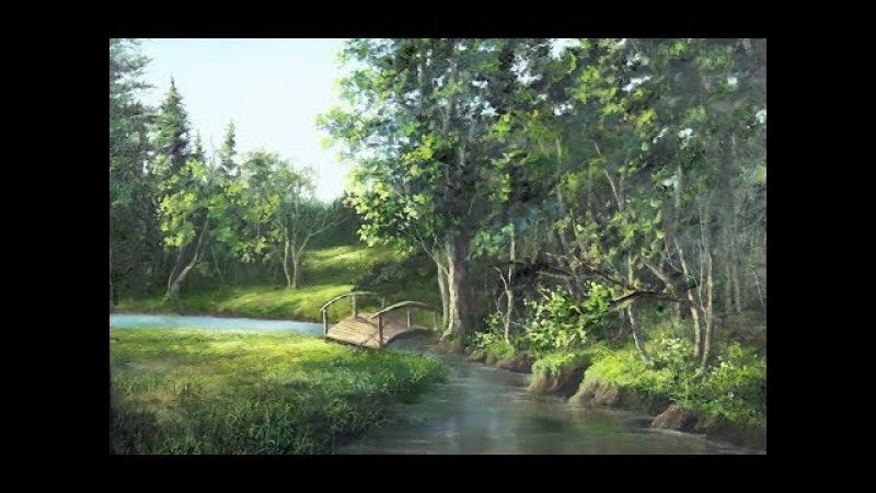 Bridge over the Creek   Landscape Oil Painting
