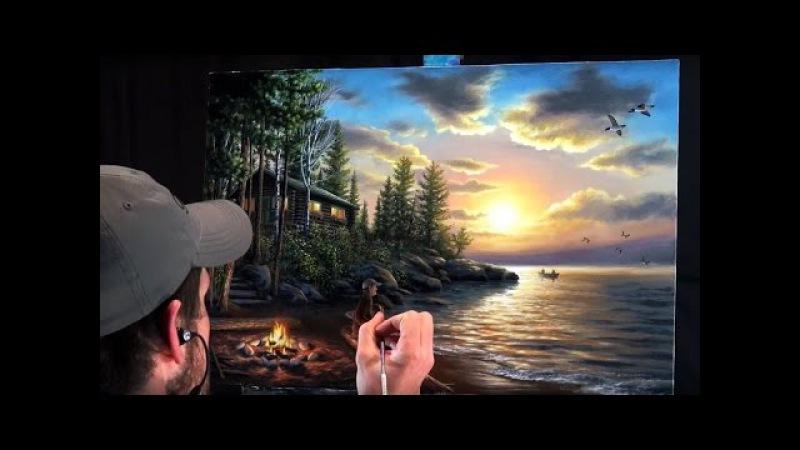 Acrylic Landscape Painting Time-lapse   Sunset at the lake