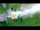Пейнтбол на машине Жигули под обстрелом пейнтбольных маркеров