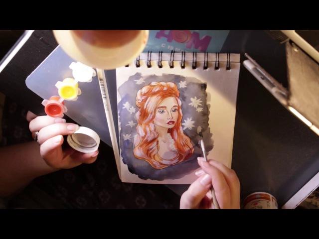 Speed painting акварелоью   Lilith Ardath   старт канала  OWA-team