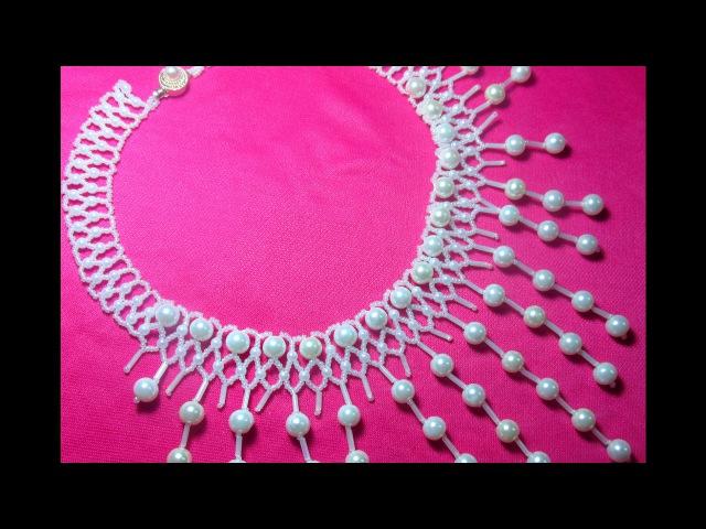 Красивое колье с подвесками из бисера БисероплетениеNecklace with pendants from beads Beading