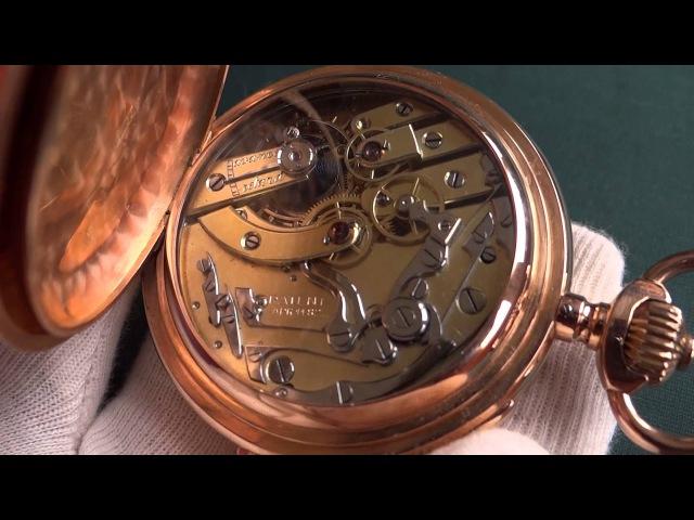 Старинные карманные мужские трехкрышечные золотые часы с репетиром и хронограф...