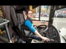 В Воронеже девушка водит пассажирский автобус.