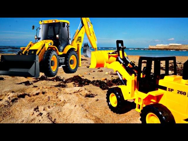 Oyuncak Arabalar! Çizgi filmi. Kumda Plaj Oyunları. Traktör ve Kepçe temizlik oyunu yapıyorlar