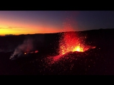 Drone Fly over active volcano in Reunion Island - 2017