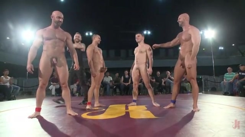 Mitch Vaughn, Doug Acre, Eli Hunter, Tatum X in Five Hunky Gay Wrestles Have Hardcore Group Sex