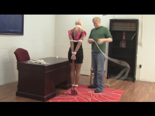 hot blonde tied up by the boss