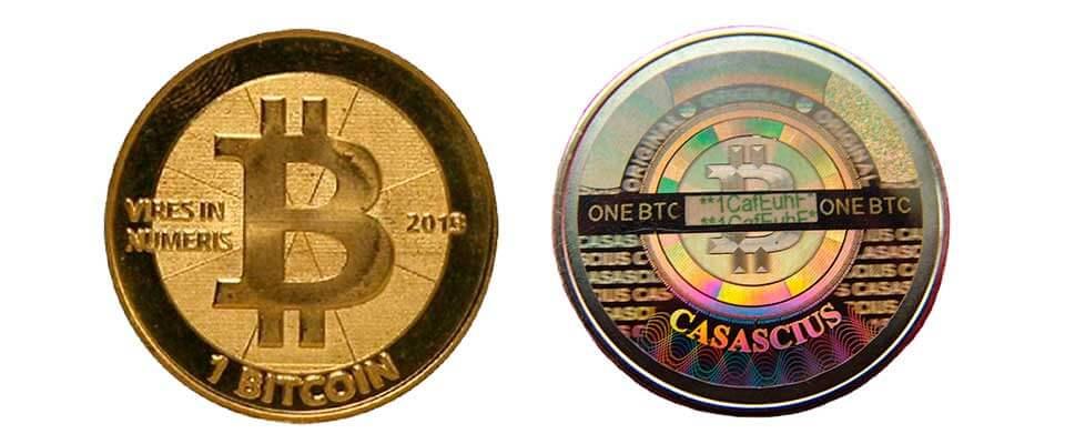 Биткоин-монета Casascius