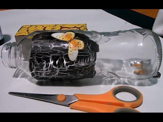 Craquelado sobre carton y vidrio con goma escolar - Easy Crackle finish with glue por Helencreaty