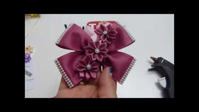 Como hacer Corbatas y Flores de Listón para el cabello paso a paso , Diy 641