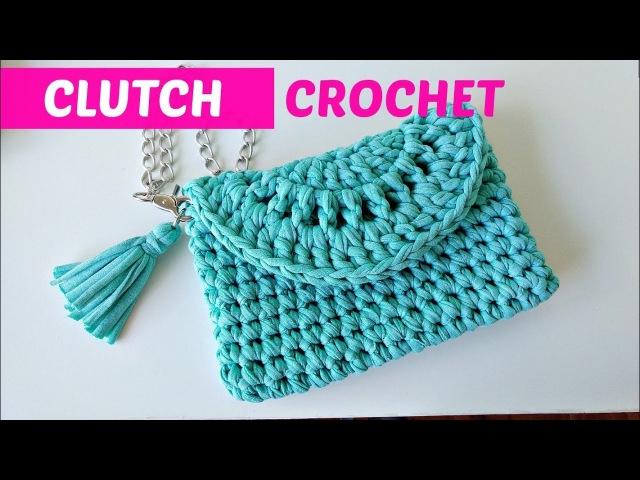 Clutch a crochet o bolso de mano fácil