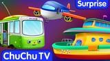 Surprise Eggs Toys Public Transport Vehicles for Kids Aeroplane &amp more ChuChuTV Egg Surprise