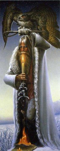 """А слова, потерявшие смысл в днях...  Картина К.Васильева  """"Человек с филином """" (Велес) ."""