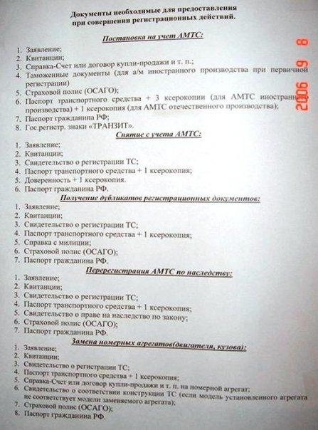 Список документов для регистрации автомобиля обратился Джезераку: