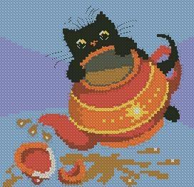 """Схема вышивки  """"Подушка  """"шкодный кот."""