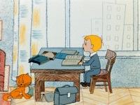 Красивая картинка Мальчик учит уроки.