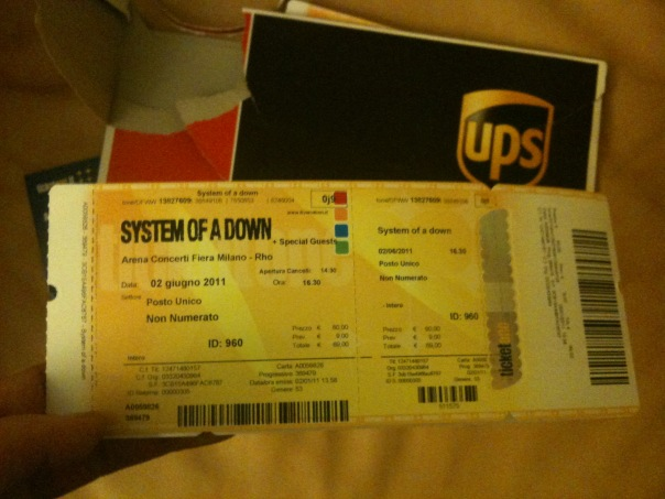 Фотоблог билета на концерт группы System Of A Down в Милане