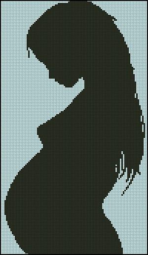 Beremenna5 (100=170) Монохромная схема для вышивки беременной девушки.