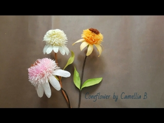 DIY_ Paper Coneflower from crepe paper - hoa thanh cúc giấy nhún