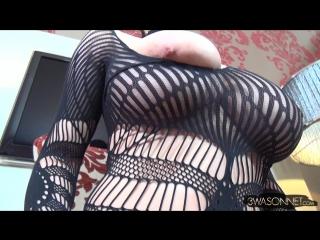Ewa Sonnet shows her big tits mesh bra panties