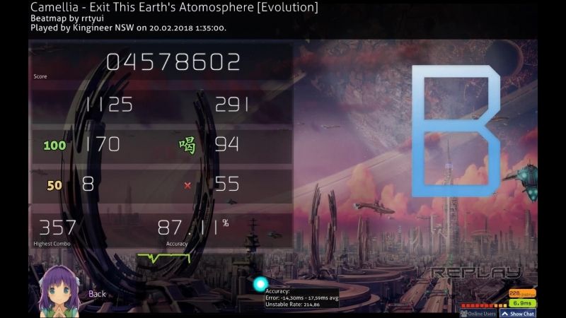 Kingineer NSW | Camellia - Exit This Earth's Atomosphere [Evolution] (rrtyui) PASS 87.11%acc