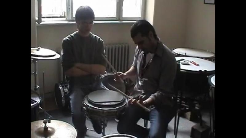 Проф Синиша Йович и Милош Бранисавлевич Белград Сербия Double stroke roll