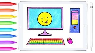 Как нарисовать компьютер 💻 на планшете   Раскраски для детей от Cherry Peach
