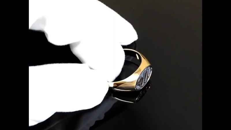 Мужское кольцо-печатка из красного золота с площадкой, чернением и инициалами