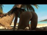 Большая упругая мокрая попка на пляже [ булки орех жопа попа задница секс сочная