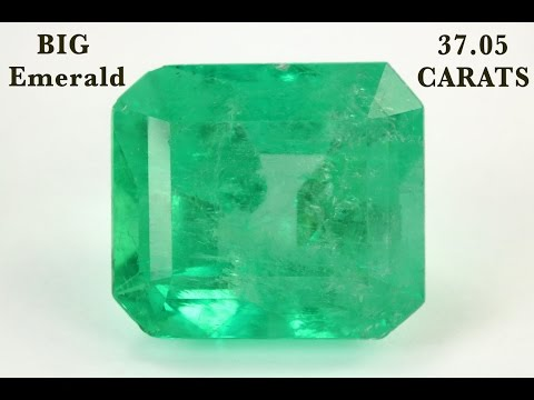 Currency of the future Colombian Emerald Cut Loose Big Gemstone 37.05 Carats