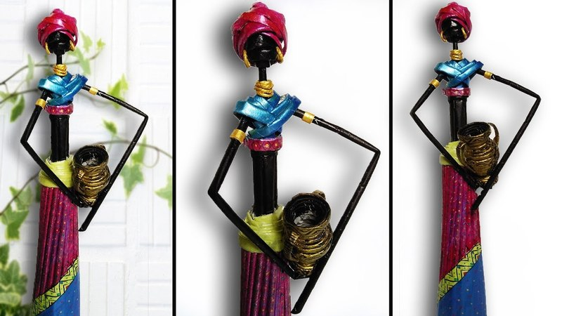 DIY amazing beautiful african doll with newspaper-african doll with water pot- out for waste paper