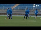 Сборная России по футболу проводит тренировку перед встречей с испанцами