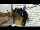 Женская стрижка с удлинением на лицо и рисунком бритвой в нижне затылочной зоне