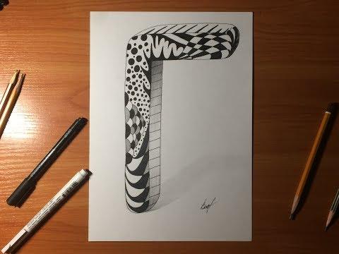 Рисуем объемную букву Г | Drawing a three-dimensional letter G