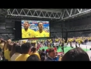 В Стокгольме всё готово к просмотру игры на самом большом экране в Европе!Швеция поет гимн.