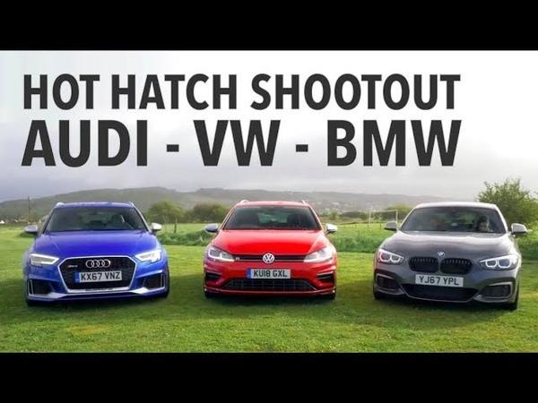 Hot Hatch Shootout - BMW M140i vs Audi RS3 vs VW Golf R w Tiff Needell and Ryan Cullen