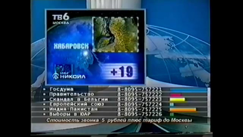 6 новостей дня (ТВ-6, 03.06.1999) Фрагмент новостей спорта и прогноз погоды