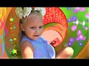 Alice pretend play on Playground with slides and swings for kids and ABC song
