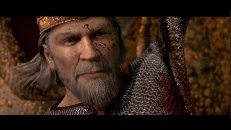 Беовульф вырывает сердце у дракона.