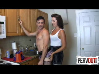Chastity sissy fucked in the kitchen