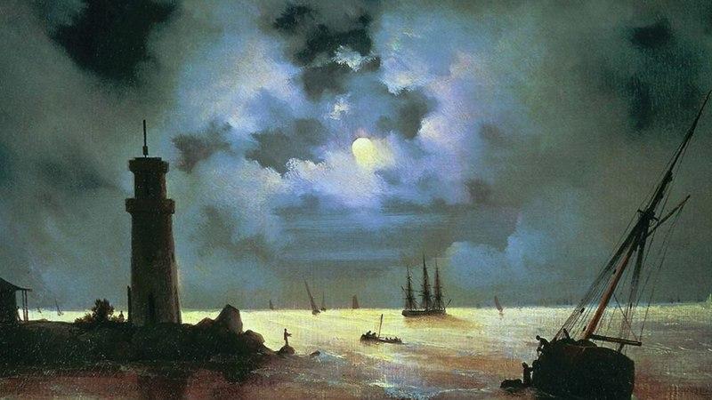 Берег моря ночью. У маяка, Айвазовский — ОБЗОРЫ КАРТИН