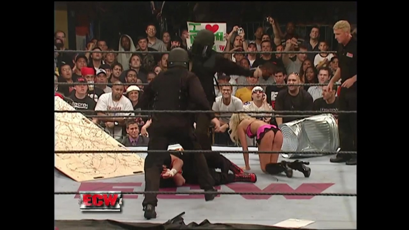 WWE ECW 1st August 2006 - Extreme Rules Match - Test Mike Knox w/Kelly Kelly vs Sandman Tommy Dreamer