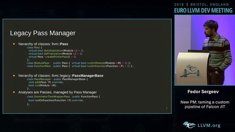 2018 EuroLLVM Developers' Meeting F Sergeev New PM taming a custom pipeline of Falcon JIT ""
