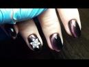 гель лак , модная кошечка , инкрустация- снежинка гель лаковая коррекция ногтей
