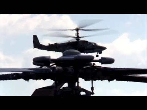 "Russian Attack Helicopters Ka-52 ""Alligator"" Stunt Show At Air Show In Kubinka 2018."