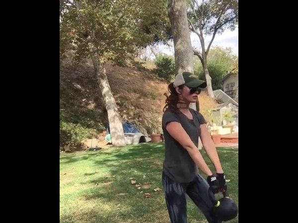 Megan Fox Doing Weight Training [December 20, 2017]