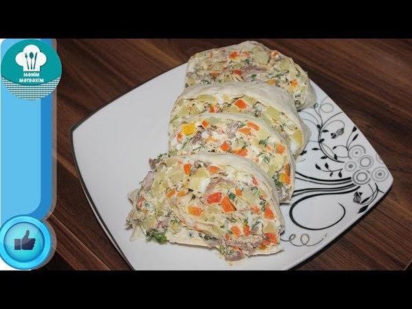 Yuxa Salatı Hazırlanması (Salat Lavaşda) Yufkada Salata Tarifi