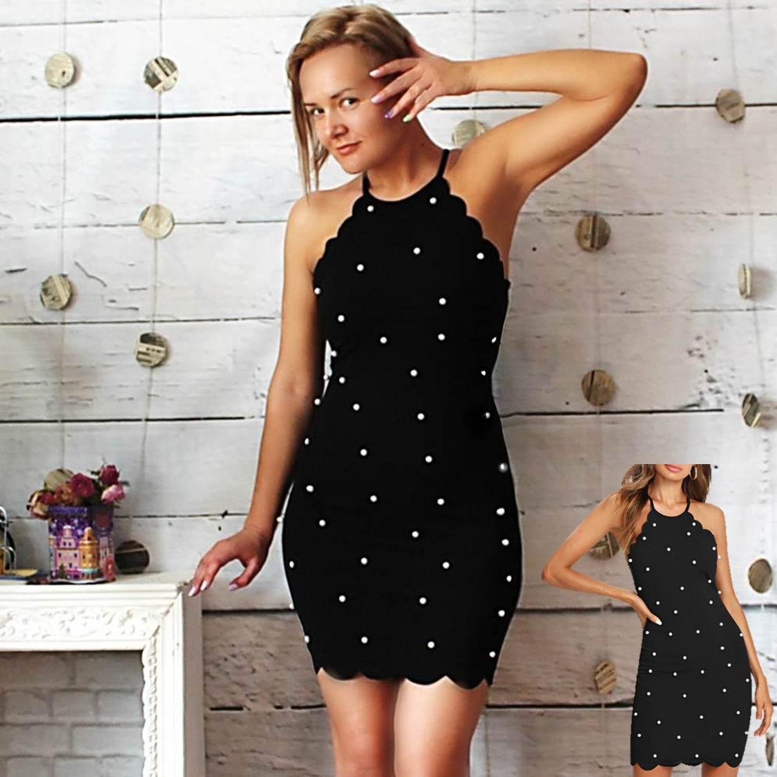 Женственное платье с бусинами
