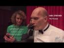 Carel Struycken rehearses a backwards line on the Twin Peaks set