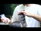 short womens haircut, layers technique